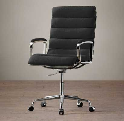 Oviedo Upholstered Desk Chair - Army Duck, Black - RH