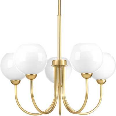 Progress Lighting Carisa Collection 5-Light Vintage Gold Chandelier with Shade - Home Depot