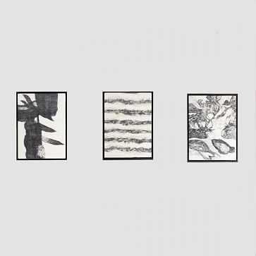 Felt Wall Art, Black/White, Set of 3 - West Elm