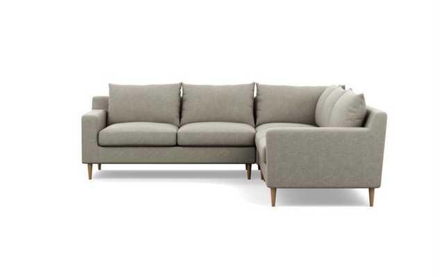 "SLOAN CORNER SECTIONAL - 97""L - Sesame Static Weave - Natural Oak Tapered Round Wood - Interior Define"