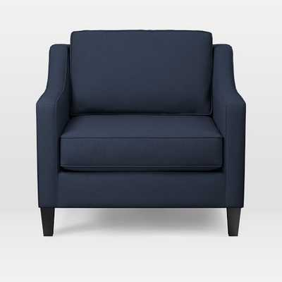 Paidge Armchair, Twill, Regal Blue, Taper Chocolate - West Elm