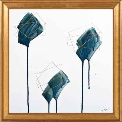 """Ink Crush"" - 16"" x 16"" - Gold Leaf Wood Frame, no mat - Artfully Walls"