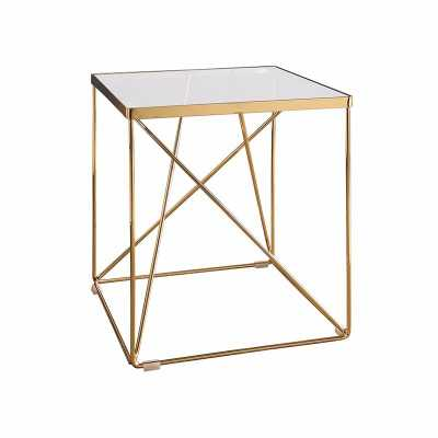 ESTRELLA GLASS TOP STAINLESS STEEL END TABLE GOLD - Abbyson Living