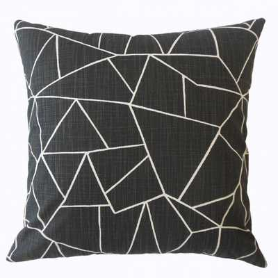 "Uheri Geometric Pillow Ink, 18"" x 18"" - Down insert included - Linen & Seam"