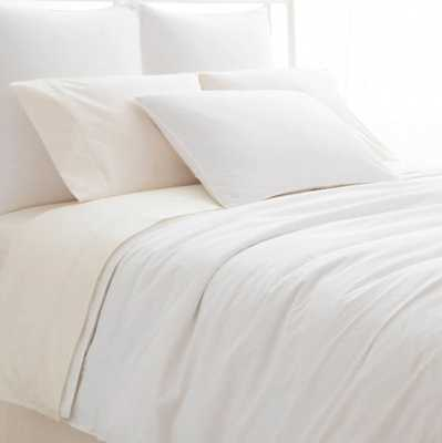 Laundered Hem White Duvet Cover King - Pine Cone Hill