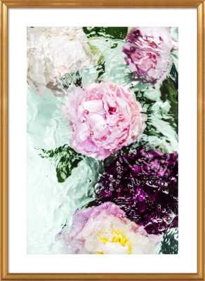 """Abstract Floral No. 4 - 32x44"""" - Gold Leaf Wood Frame with Matte - Artfully Walls"""