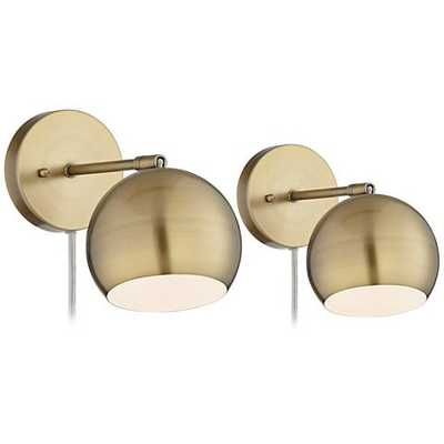 Antique Brass Sphere Shade Pin-Up LED Wall Lamps Set of 2 - Lamps Plus