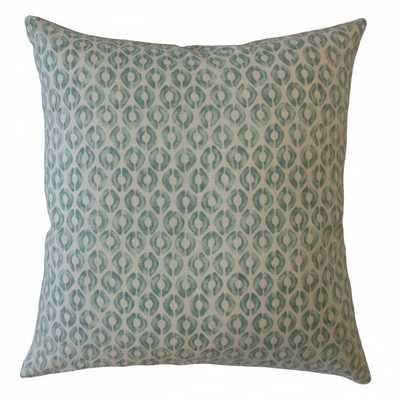 """Landen Geometric Pillow Green - 18"""" x 18"""" - Down Insert - Linen & Seam"""