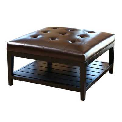 Abbyson Villagio Tufted Leather Square Coffee Table Ottoman - Dark Brown - Hayneedle