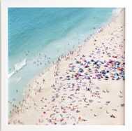 """BEACH SUMMER FUN - 30"""" X 30"""" (NO MAT)(31"""" X 31"""") - White Frame - Wander Print Co."""