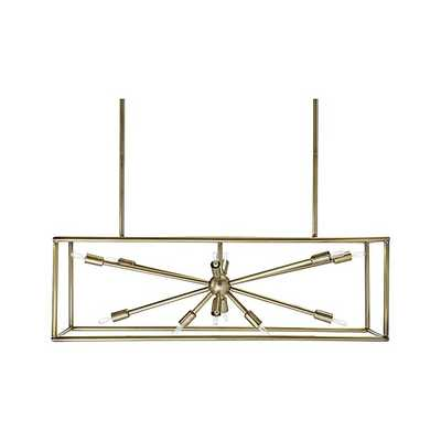 Compass Antique Brass Caged Starburst Chandelier - Crate and Barrel