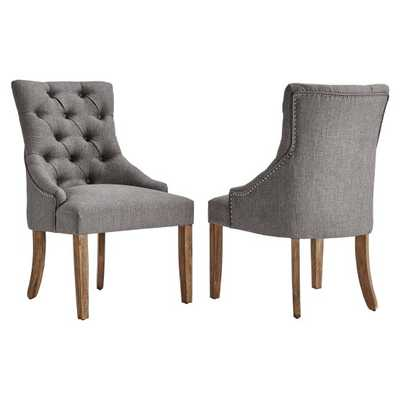 Chelsea Lane Linen Curved Back Tufted Dining Chair - Set of 2 - Hayneedle