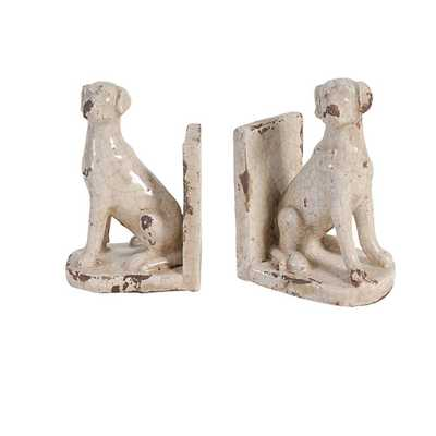 Sitting Dog Distressed Cream Bookends (Set of 2) - Home Depot
