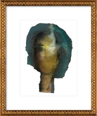 Woman Head - 16 x 20 -Gold crackle bead wood frame with mat - Artfully Walls