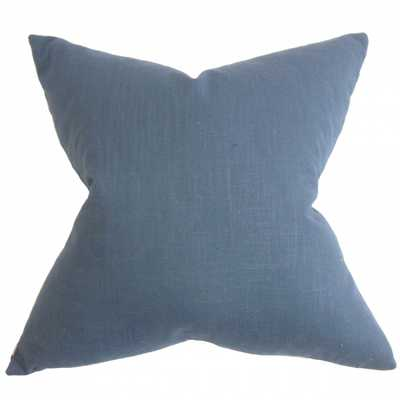 Ninian Solid Pillow Blue- Queen Sham.- no insert - Linen & Seam