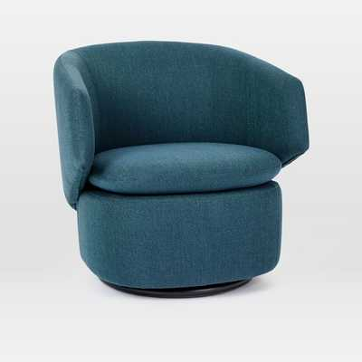 Crescent Swivel Chair, Teal Twill - West Elm