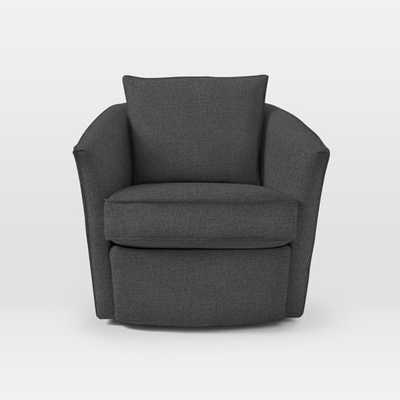 Duffield Swivel Chair-PEBBLE WEAVE, CHARCOAL - West Elm