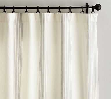 "Riviera Stripe Drape with cotton liner, 50 x 84"", Sandalwood - Pottery Barn"