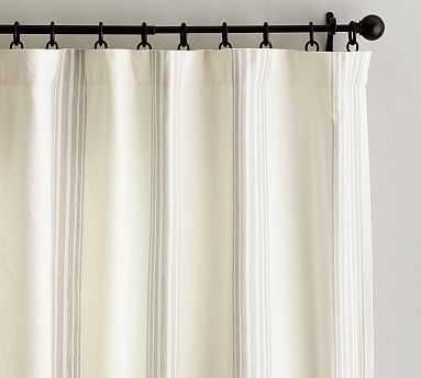 "Riviera Stripe Drape with Blackout Liner, 50 x 96"", Sandalwood - Pottery Barn"