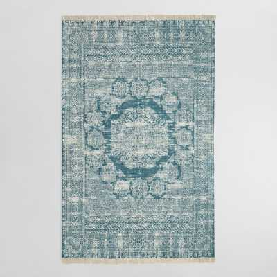 5'X8' Indigo Blue Print Cotton Dhurrie Ariana Area Rug - World Market/Cost Plus