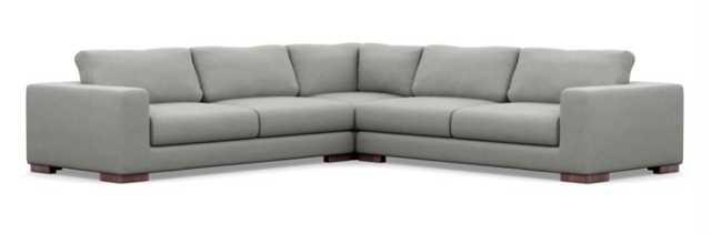 "HENRY CORNER SECTIONAL - Ecru Monochromatic Plush - Oiled Walnut Leg - 106"" - Interior Define"