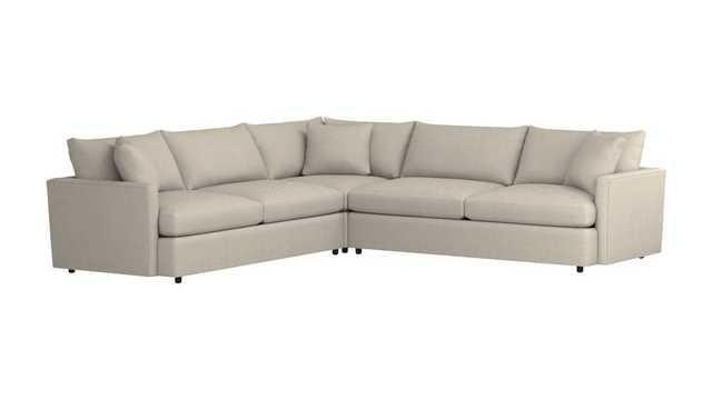 Lounge II Petite 3-Piece Sectional Sofa - Taft, Cement - Crate and Barrel