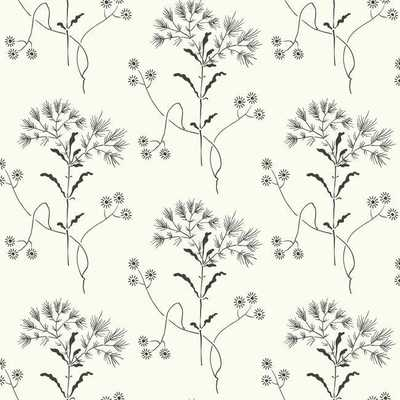 Wildflower Wallpaper in Black and White from Magnolia Home Vol. 2 by Joanna Gaines - DOUBLE ROLL - Burke Decor