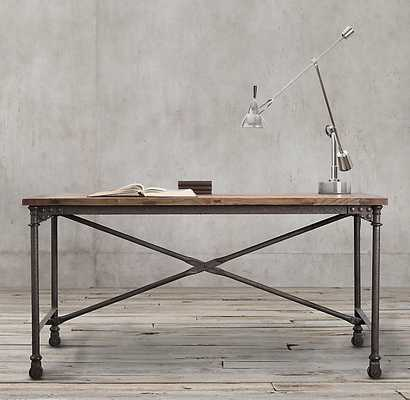 "Flatiron Desk - Reclaimed Natural Elm & Rust Metal, 48""W - RH"