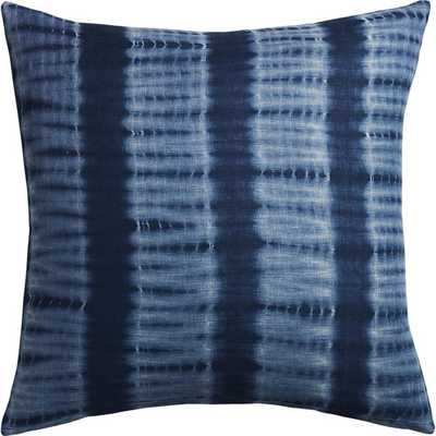 """23"""" indigo blue tie dye pillow with feather-down insert - CB2"""
