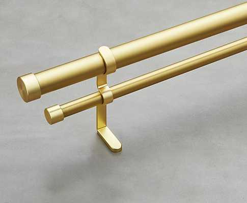"brushed brass double rod curtain rod set 88""-120"" - CB2"