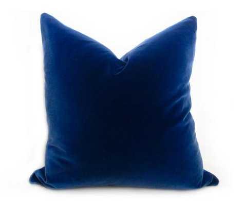 """Belgium Velvet Pillow Cover - Blue - 22"""" x 22"""" - Insert not included - Willa Skye"""