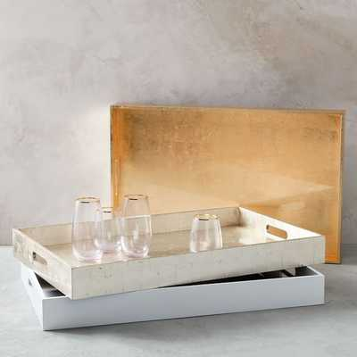 """Reclaimed Wood Lacquer Tray, 18""""x 28"""", White - West Elm"""