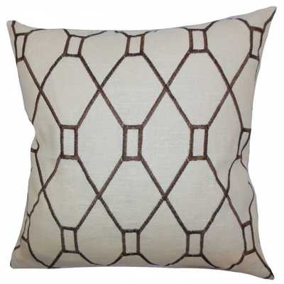 "Nevaeh Geometric Pillow Brown - 20"" x 20""  With Down insert - Linen & Seam"