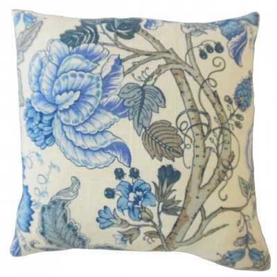 """Madisyn Floral Pillow Baltic - 18"""" x 18"""" Down insert - Linen & Seam"""