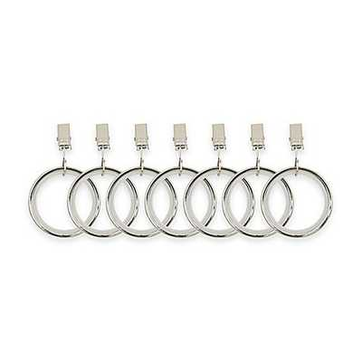 Umbra Cappa Clip Rings in Polished Silver (Set of 7) - Bed Bath & Beyond