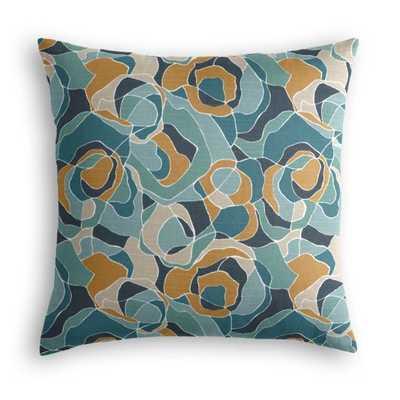 Throw Pillow Ortensia - Peacock - Multi, 20x20 - Down Insert - Loom Decor