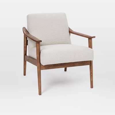 Mid-Century Show Wood Upholstered Chair, Chunky Basketweave, Stone - West Elm