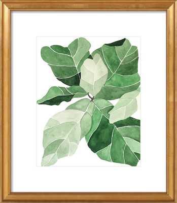 """Fiddle Leaf Fig - 14"""" x 17"""" Gold leaf wood - Artfully Walls"""
