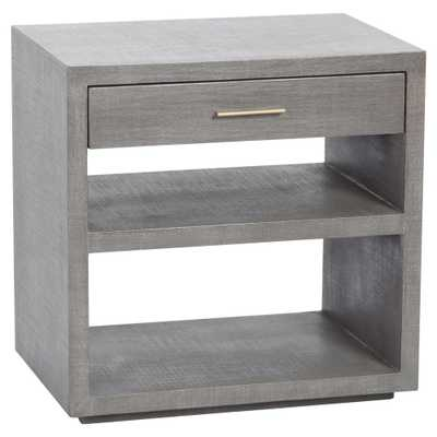 Tiffan Coastal Grey Linen Antique Brass Nightstand - Kathy Kuo Home
