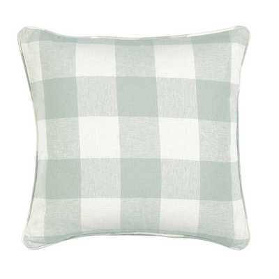 "Buffalo Check Pillow - Spa - 20"" - Down Insert - Ballard Designs"