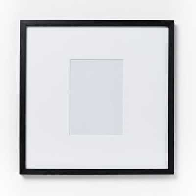 "Gallery Frame, Black Lacquer, 4""x6"" (17""x17"" Frame) - West Elm"