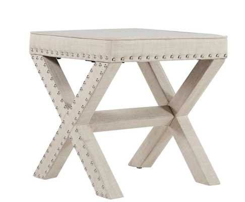 Parton Linen Fabric X-Base Nailhead 17 Inch Ottoman Bench by iNSPIRE Q Bold - Overstock
