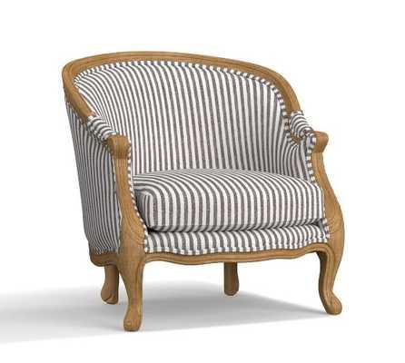 The Emily & Meritt Bergere Upholstered Armchair, Vintage Stripe Black/Ivory - Pottery Barn