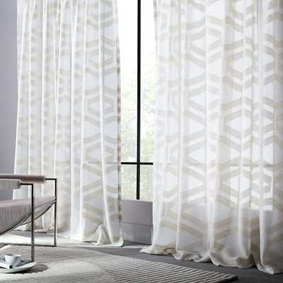 Semi-Sheer Clipped Jacquard Curtain - West Elm
