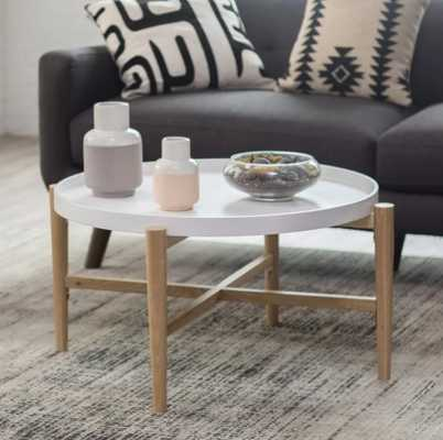 Belham Living Lincoln 2-Tone Tray Top Coffee Table - White - Hayneedle