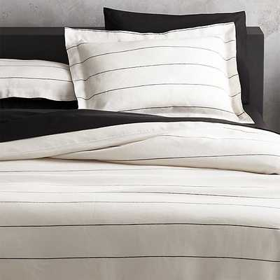 linen pinstripe bedding - CB2