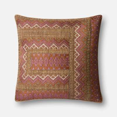 """DSET Pillow PINK / RUST 22"""" X 22"""" Cover w/Down - Loma Threads"""