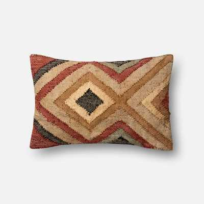 """DSET Pillow RUST / BEIGE 13"""" X 21"""" Cover w/Down - Loma Threads"""