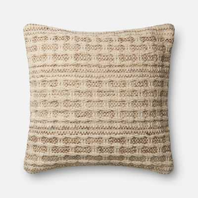 """DSET Pillow IVORY / SLATE 22"""" X 22"""" Cover w/Down - ED Ellen DeGeneres Crafted by Loloi Rugs"""
