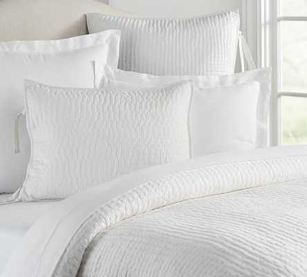 PICK-STITCH HANDCRAFTED QUILT, QUEEN, WHITE - Pottery Barn